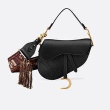 2019 New Genuine Leather Women Saddle Bag Stylish Brand Cros