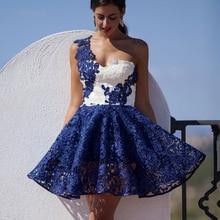 2016 Sıcak Bir Omuz Kraliyet Mavi Dantel Sevgiliye Kısa Balo Parti Elbise Zarif Örgün Balo Elbiseleri vestidos de baile