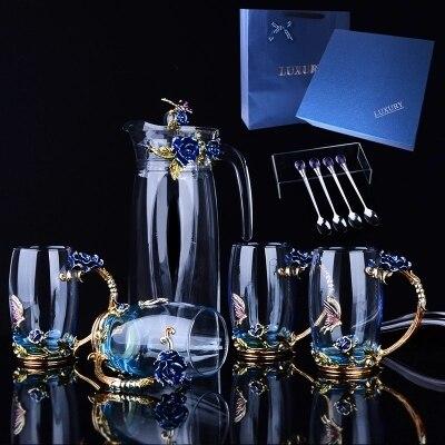 Bottiglia di acqua bollitore set creative tazza di tè di vetro regalo tazza di caffè