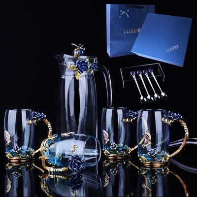 Bouteille d'eau bouilloire ensemble créatif tasse à thé en verre cadeau de tasse de café