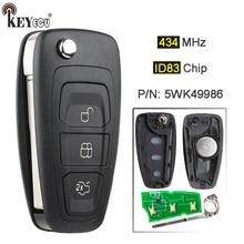 Chave remota da substituição da microplaqueta 5wk49986 de keyecu 434mhz 4d63 fob 3 botão para ford c max s max foco mk3 grand mondeo 2010 2018