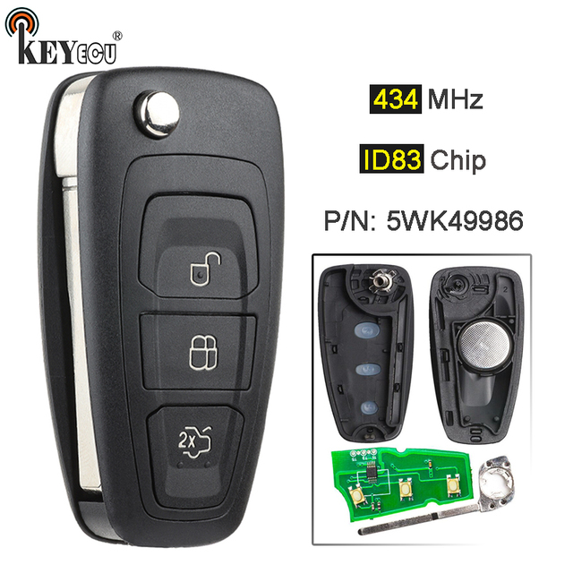 KEYECU 434MHz 4D63 Chip 5WK49986 Replacement Remote Key Fob 3 Button  for Ford C Max S Max Focus MK3 Grand Mondeo 2010 2018