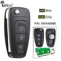KEYECU 434MHz ID83 4D63 puce 5WK49986 remplacement télécommande clé Fob 3 bouton pour Ford c-max s-max Focus MK3 Grand Mondeo 2010-2017