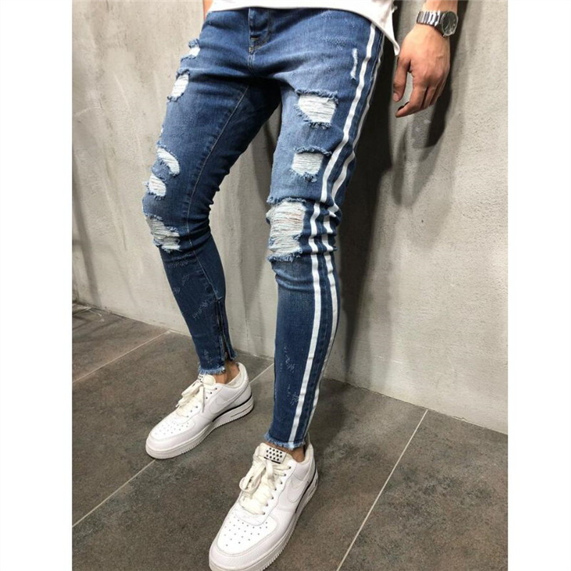 Men Jeans Trendy Man Skinny Jeans Biker Destroyed Frayed Fit Denim Ripped Denim Pants Side Stripe Pencil Pant Hip Hop Streetwear