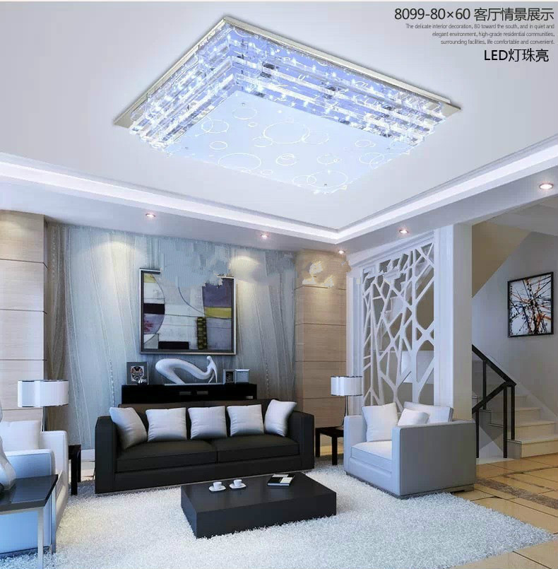 dining room lighting low ceilings | Modern minimalist E27 crystal LED ceiling light for living ...
