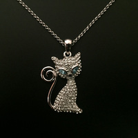 Austria Crystal Cat With Blue Eye Necklace Pendant Cute Small Animal Design Christmas Jewelry Girls Kids