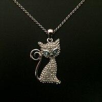 Bleu Autriche Cristal Chat Kitty Pendentif Collier Choker Collier Femmes Chaînes Pour Colliers Bijoux Fashion Lady Parti Accessoires