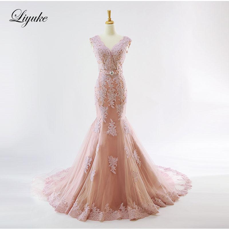 Liyuke Elegant Jauh V-Leher Mermaid Wedding Dress Permen Warna Alami Pinggang Biasa Cap Lengan Gaun Pengantin Liyuke