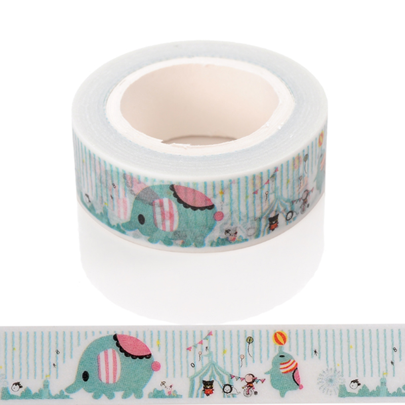 1 Pc / Pack New Diy Cute Cartoon Elephant Washi Tape Sticker Paper For Scrapbooking Decoration Stationery Free Shipping seiko настенные часы seiko qxa667bn коллекция настенные часы