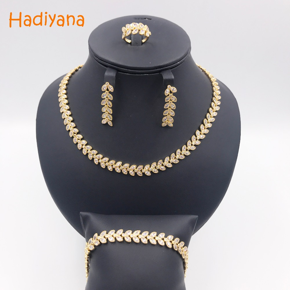 Hadiyana New Arrival Wholesale Pave Eye Cubic Zircon 4pcs Jewelry Sets Women Hot Classic Copper Jewelry