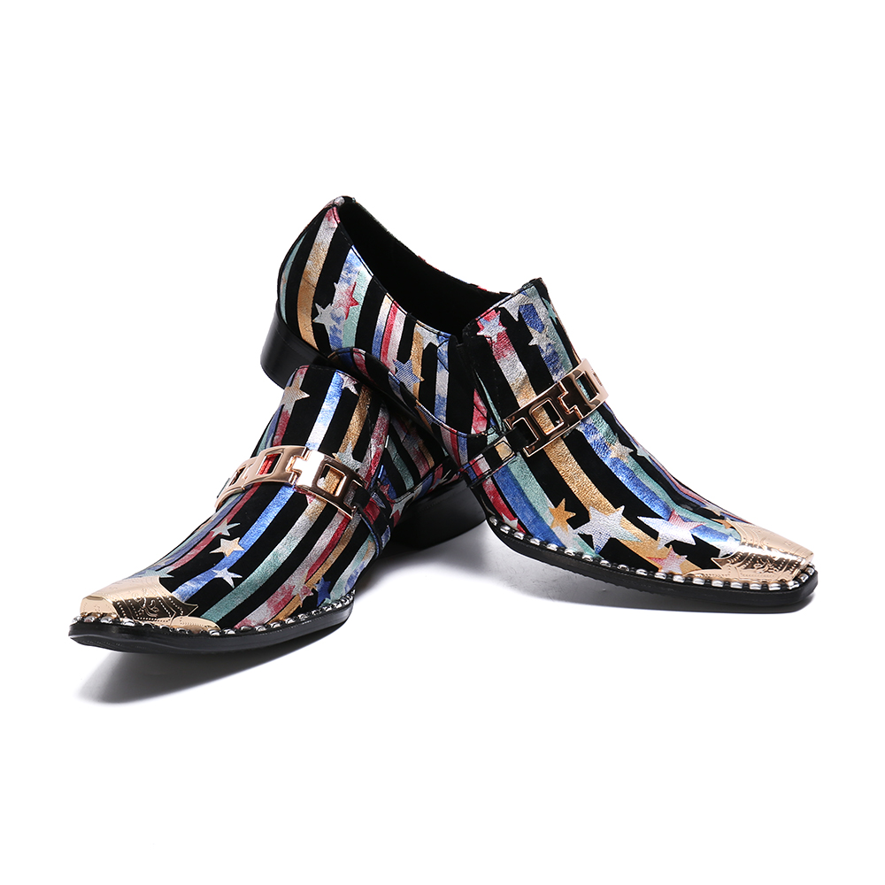 Christia Bella Italian Multicolour Print Men Formal Real Leather Shoes Metal Decoration Party Dress Shoes Male Wedding Shoes