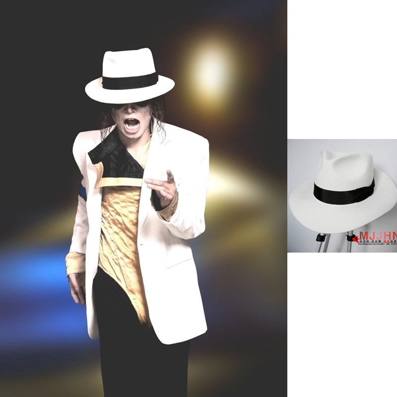 Classic MJ Michael Jackson Smooth Criminal With Name White FEDORA Wool Hat Trilby Collection