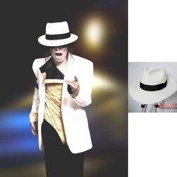 Klassische MJ Michael Jackson Smooth Criminal Mit Name Weiß FEDORA Wolle Hut Trilby Sammlung