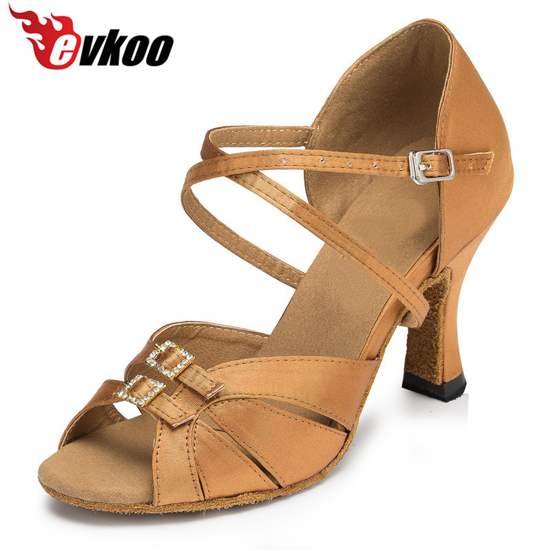 Evkoodance Shoes Satin Dan Crystal Buckle Black Tan Warna Buka Kaki 7cm Ballroom Latin Dance Shoes For Women Evkoo-400