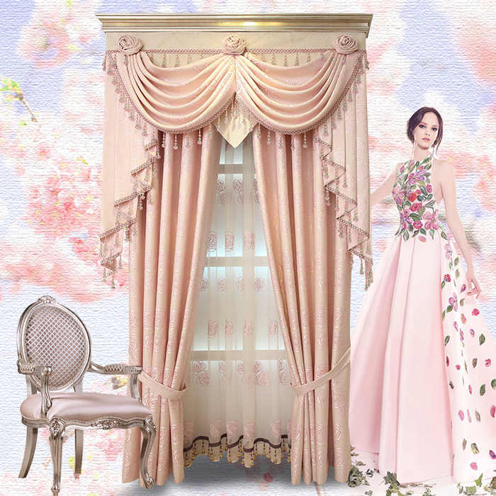 European Garden bedroom curtains high-grade jacquard embroidery gauze pink  roses cloth blackout curtain tulle valance E522