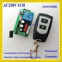 RF Remote Control Switch AC 220V 1CH 10A Relay Wireless Light Switch 315 433 92