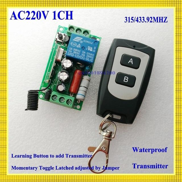 Rf Remote Control Switch Ac 220v 1ch 10a Relay Wireless Light 315 433 92 Receiver Transmitter Com No Nc