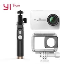 YI 4 К действие Камера Комплект с Водонепроницаемый чехол и селфи рукоять 2,19 «ЖК-дисплей жесткие Экран Wi-Fi International версия спортивные Камера