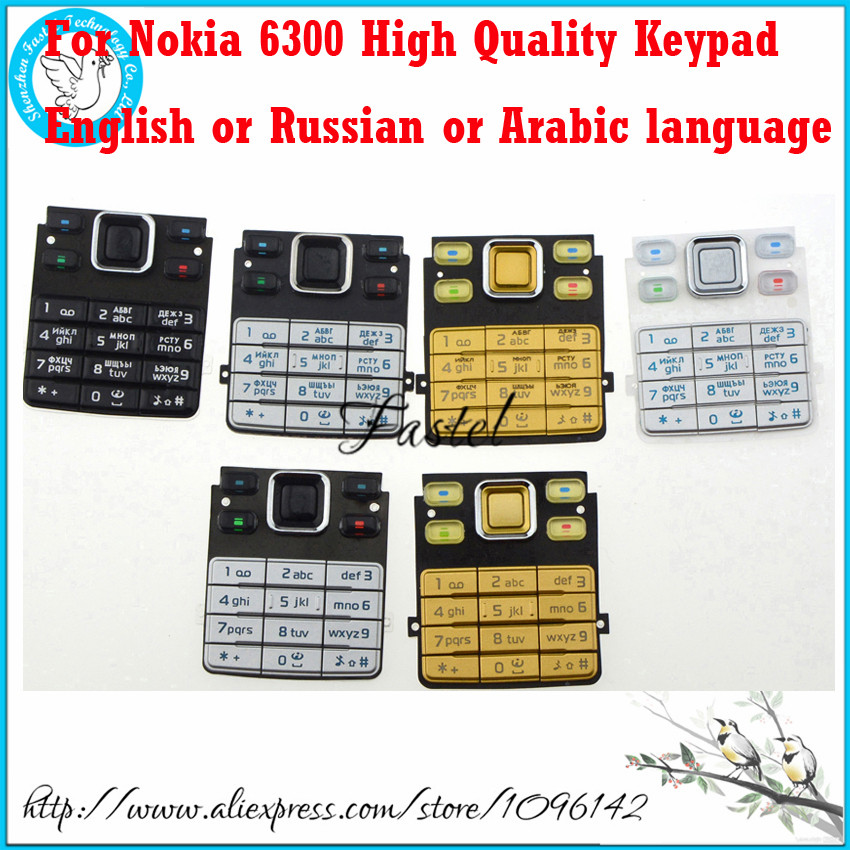 For Nokia 6300 Brandnew  Mobile Phone Housing Keypad Cover English Or Russian Arabic Language Keyboard