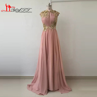 LIYATT Vintage Arabic Style Evening Prom Dresses Real Picture Luxury High Neck Gold Appliques Beads Sexy Chiffon Women Gown 2016