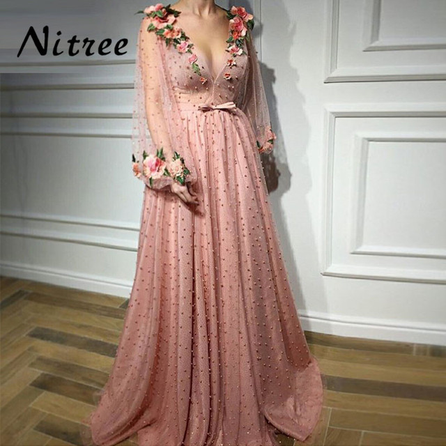 Aibye V Neck Formal Evening Dresses Dubai Turkish Arabic Prom Party Dress For Weddings Moroccan Kaftan Abendkleider Gowns 2018