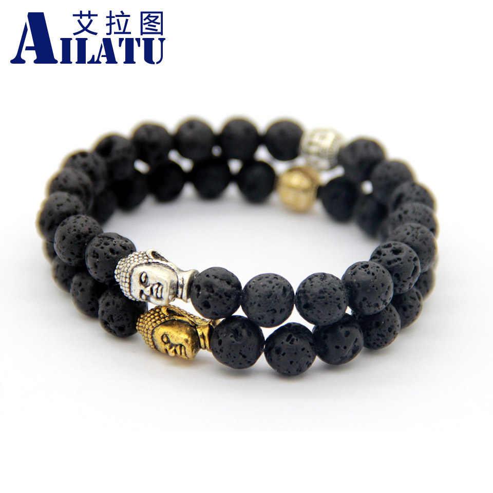 Ailatu на продажа буддийский Для мужчин бисером энергия вулканического камня Религия Будда браслет Мода ювелирные изделия