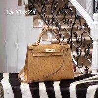 Africa Ostrich Skin Luxury Brand Runway Women Tote Handbag 100 Handmade Top Quality CL70271