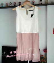 Free shipping new summer lady temperament sleeveless dress with lace stitching Chiffon pleated  hem