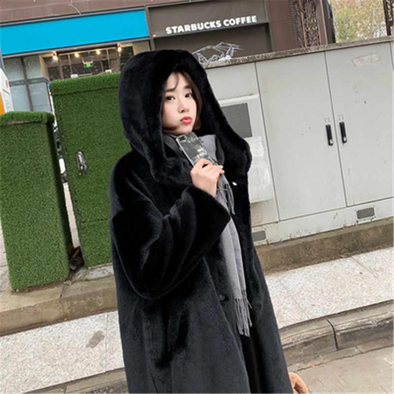 Новинка зимы High-end модное пальто с мехом с роскошным мехом; теплые Кофта для отдыха Женские Имитация норки толстый длинный с капюшоном Большие размеры пальто AS927