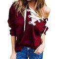 2016 Autumn Bandage V neck Hoodies Sweatshirt Full Sleeve Loose Solid Plus Size Women Clothing Crop Tops Tee Shirt Femme LJ5749U