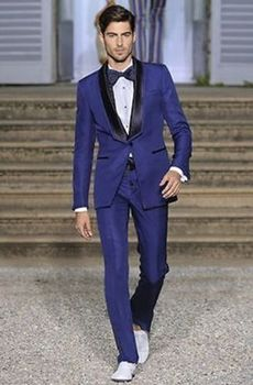 Stylish Royal Blue Men Suits With Shawl Black Collar 2017 Fashionable Groomsmen Wedding Tuxedos Best Men Party Wear Blazer Pants