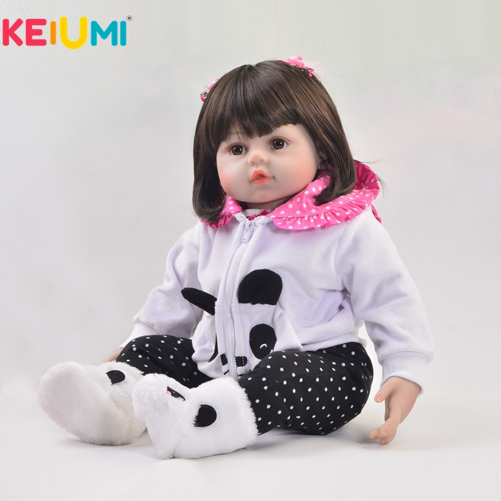 Realistic 24 Inch Reborn Baby Girl Doll Soft Silicone 60 cm Lifelike Babies Doll Toy Wear Panda Clothing Kid Xmas Birthday Gifts