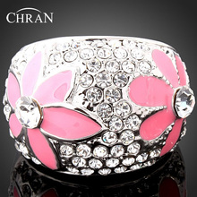 Chran Enamel Pink Flower Prom Wedding Rings for Women Fashion Rhodium Plated Crystal Finger Jewelry Ladies Gifts