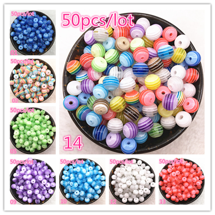 New Jewelry Striped Round Resin Spacer Beads Mixed Pattern About 50pcs 6mm 8mm in Beads from Jewelry Accessories