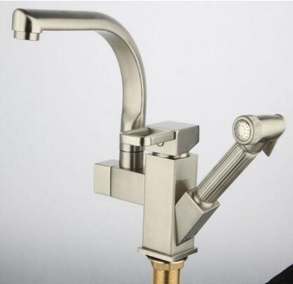 Robinet de cuisine de luxe avec jet amovible mélangeur 2 fonctions robinet mitigeur de cuisine en nickel brossé accessoires