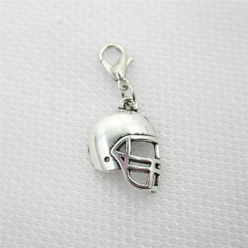 New Arrive 20pcs/lot Silver Football helmet charms dangles hanging lobster clasp charm diy jewelry accessory