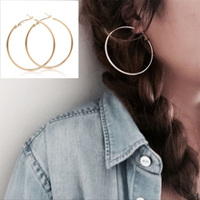 Aros Mujer Oreja New Alloy Round Big Large Hoop Earring Sliver Plated Drop Earing Earrings For Women Statement Jewelry Gifts