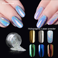 Art Metal Polish Professional Nail Chameleon holographic Powder Color Manicure Mirror Chrome Effect Pigment Powder With Brush
