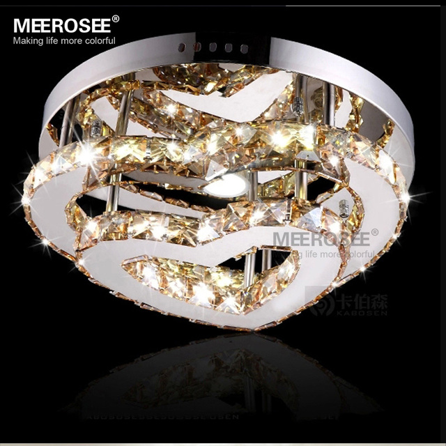 Mirror Finish Stainless Steel Ceiling Light Fixture Heart Shape Led Diamond Crystal Flush Mount Lighting Interior Decoration