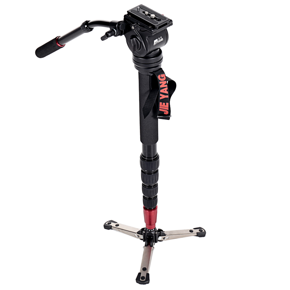 JIEYANG JY0506 Aluminum Alloy Professional Camera Monopod Tripod with Fluid Video Pan For DSLR Photography Camera Stand bt 158 aluminium alloy 1460mm camera video monopod professional extendable tripod slr dslr holder stand with carry bag
