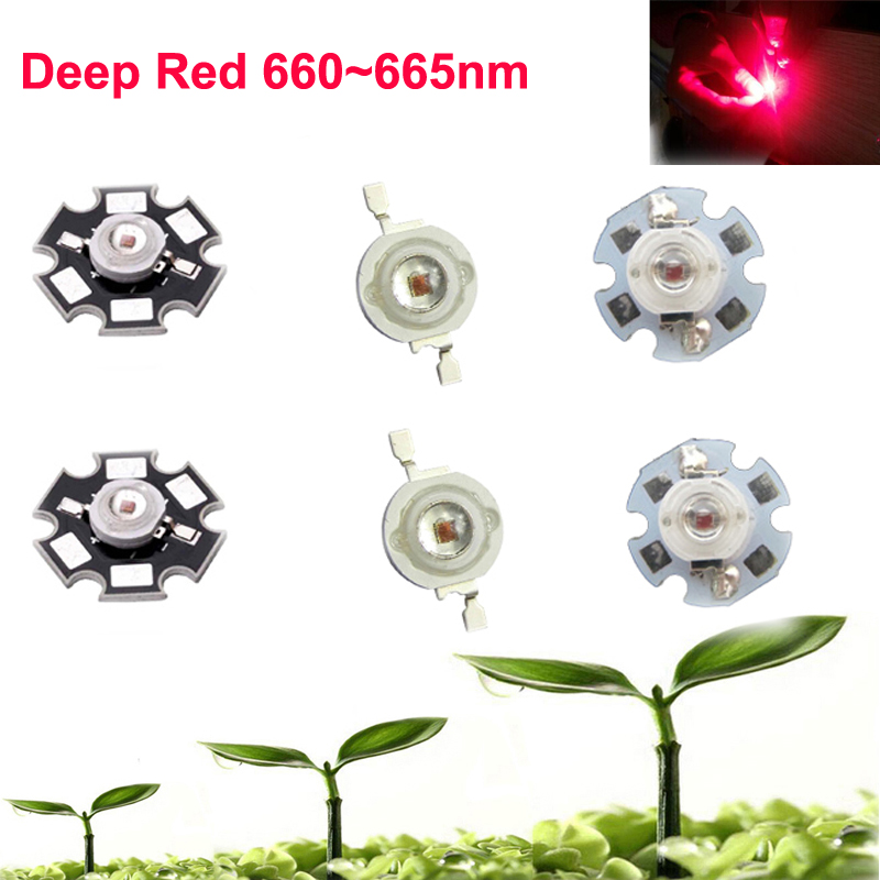 2 5 10 20 50 100pcs 1w 3w Deep Red 660nm ~ 665nm EPILEDS  LED Light Bead Bulb Part Diode For Plant Grow With 20mm / 16mm Plate