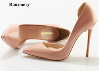 Rousmery New Fashion Women Classical Design Patent Leather Pumps High Quality 12cm Nude High Heels Formal