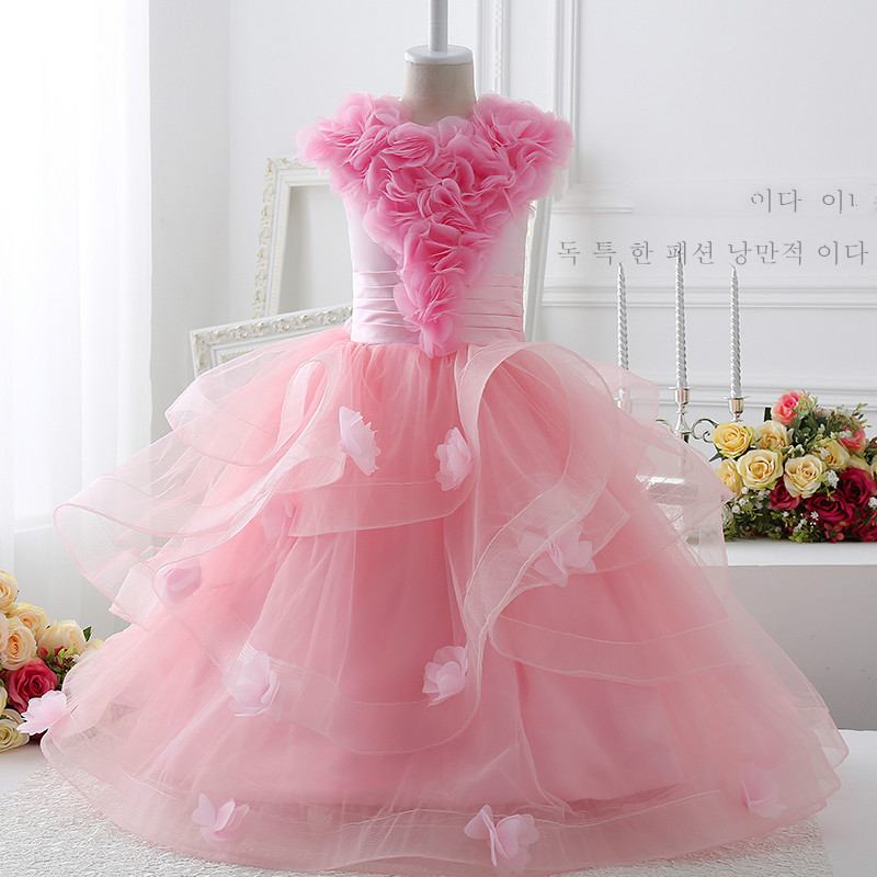 kids prom dresses beautiful girls wedding dresses pink floor length gowns children clothing 12 years long follower formal dress