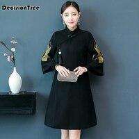 2019 new chinese style black female silm rayon cheongsam qipao handmade button full sleeve novelty long dress