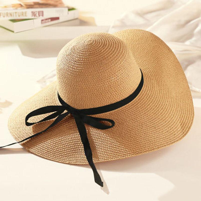 2d602385fb4 US $9.55 |2019 Hot Sale Round Top Raffia Wide Brim Straw Hats Summer Sun  Hats for Women With Leisure Beach Hats Lady Flat Gorras-in Women's Sun Hats  ...