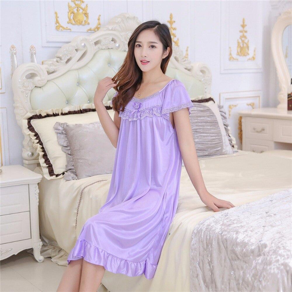 2019 Hot Sale Plus Size 2XL New Sexy Silk Nightgowns Women Casual Chemise Nightie Nightwear Lingerie Nightdress Sleepwear Dress 3