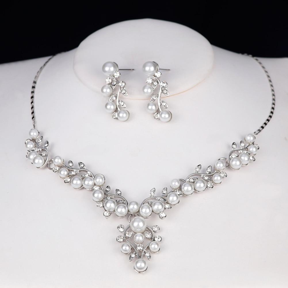 Women Elegant Faux Pearl Rhinestone Leaves Necklace Earrings Wedding Jewelry Set
