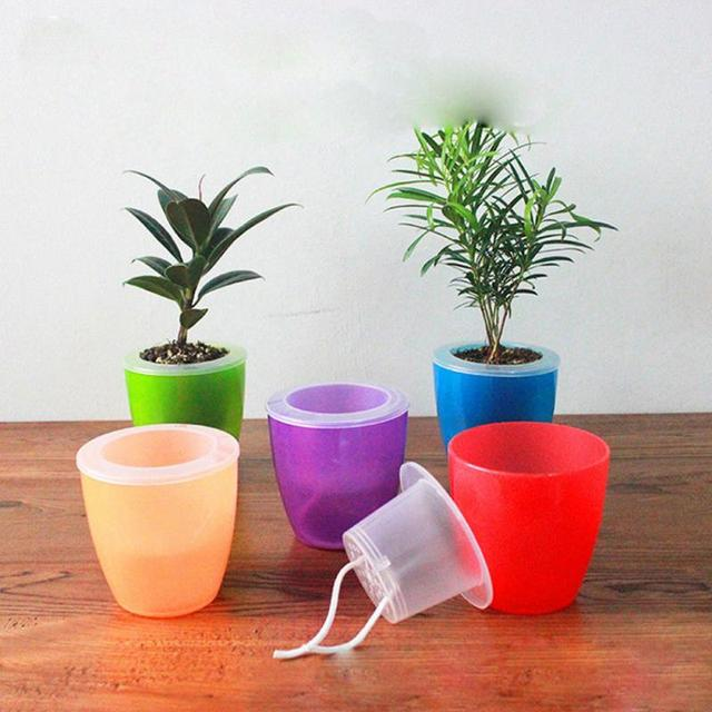 Brief Abs Pure Color Transpa Self Watering Planter Flower Pot Double Layers Plant