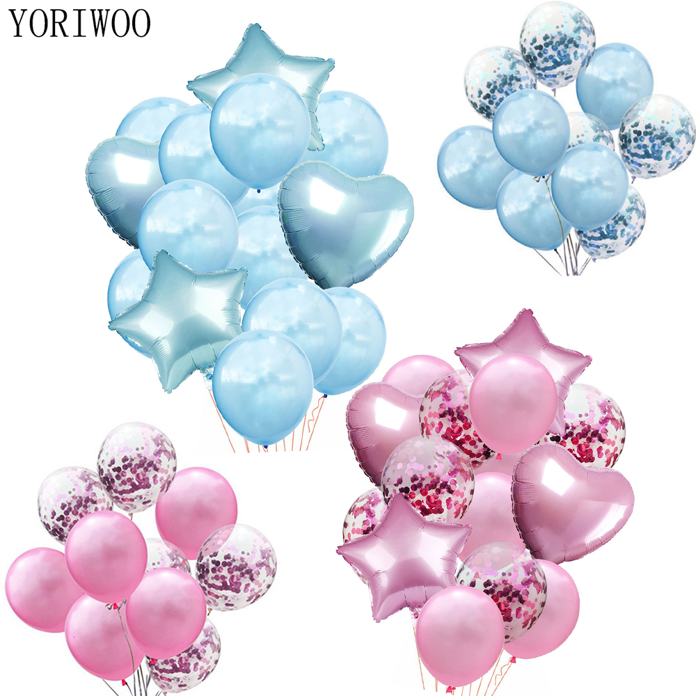 YORIWOO Latex Balloon Blue Pink Balloons Set Girl Baby Shower Boy Gender Reveal Babyshower 1st Birthday Party Decorations Kids