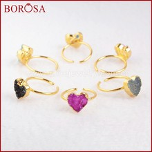 BOROSA Clearance Sale 10PCS (Smallest Finger ) Heart Shape Druzy Little Finger Rings, Mix Colors Geode Drusy Rings Jewelry G0600(China)